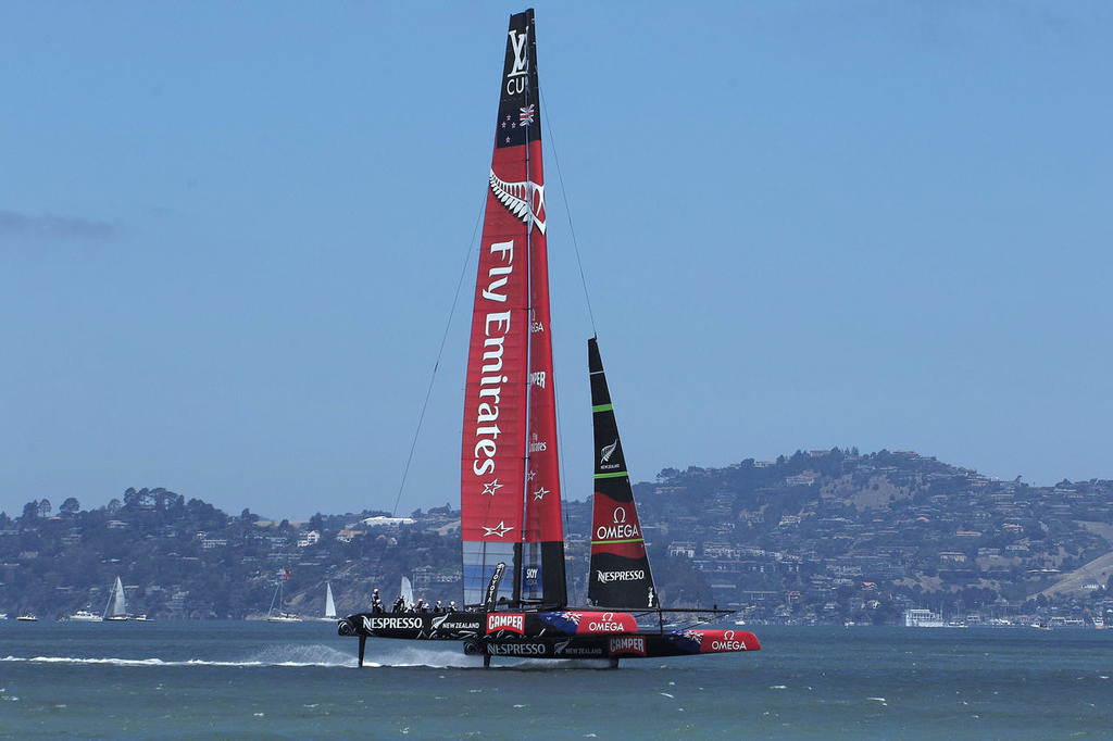The foiling cavitation that has been a problem for all teams can be seen here. - America's Cup © Chuck Lantz http://www.ChuckLantz.com