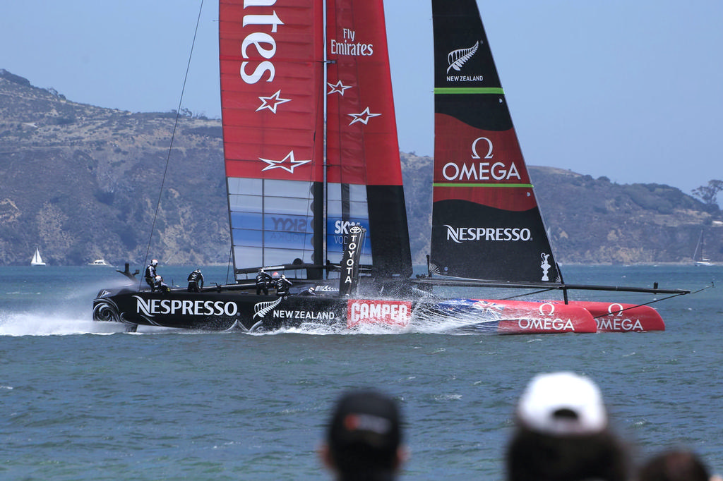 For most of their two laps, ETNZ stayed off their foils.  - America's Cup © Chuck Lantz http://www.ChuckLantz.com