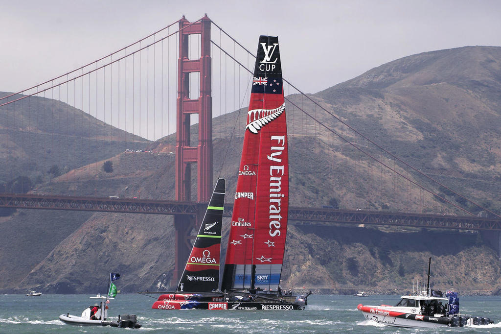 By law, at least one sailing photo must contain a shot of the Golden Gate bridge in the background - America's Cup © Chuck Lantz http://www.ChuckLantz.com
