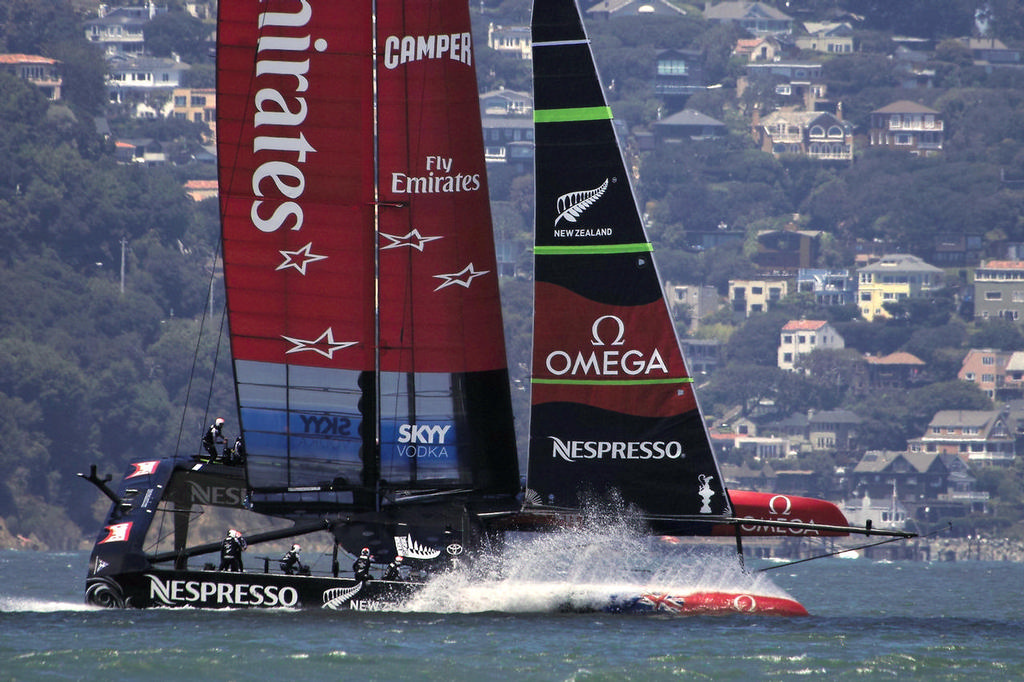 Emirates team New Zealand puts on a show for the Marina spectators - America's Cup © Chuck Lantz http://www.ChuckLantz.com