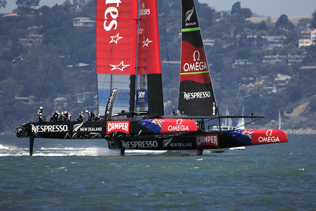 Flat, flying and stable is the new look for the foiling AC72 - America's Cup © Chuck Lantz http://www.ChuckLantz.com