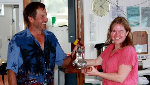 Class President Colin Shanks presenting the DFL Trophy to Sarah Dunley. Photo: Hamish Norton © Antje Muller