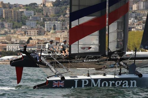Ben Ainslie skipper of J.P. Morgan Bar is bringing his AC45 toward the leeward gate at an official practice on the Bay of Napoli on April 17, 2013. ©  SW