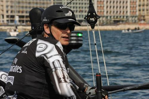 Skipper Dean Barker is in control of Emirates Team New Zealand as he calmly passes through the leeward gate at an official practice race for the ACWS on the Bay of Napoli in Italy. ©  SW