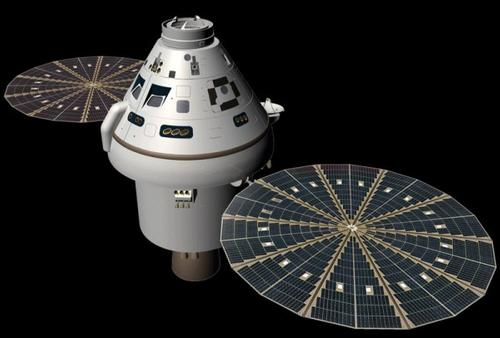 Orion Spacecraft - little draft when floating, so parachute anchor will keep it steady and control the drift ©  SW