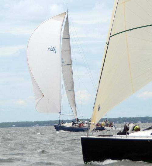 In the Founders Division of the 2013 Marion Bermuda Race, the Andrews 68 Shindig was the only boat to sucessfully set a spinnaker. She was hitting 22.5 knots going out of Buzzards Bay and passed Spirit of Bermuda by 4PM © Talbot Wilson