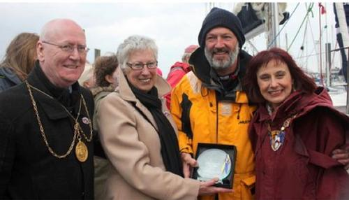 Left to right- Councillor Gerry Leonard (Deputy Provost of Glasgow), Ocean Cruising Club member Frances Rennie, Gerry Hughes, and Councillor Helen Moonie (Provost of South Ayrshire). Photo by Priscilla Travis ©  SW