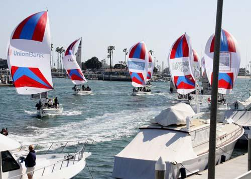 49th Congressional Cup Day 4 - Switzerland's Eric Monnin leads the exhibition fleet race home © Rich Roberts http://www.UnderTheSunPhotos.com