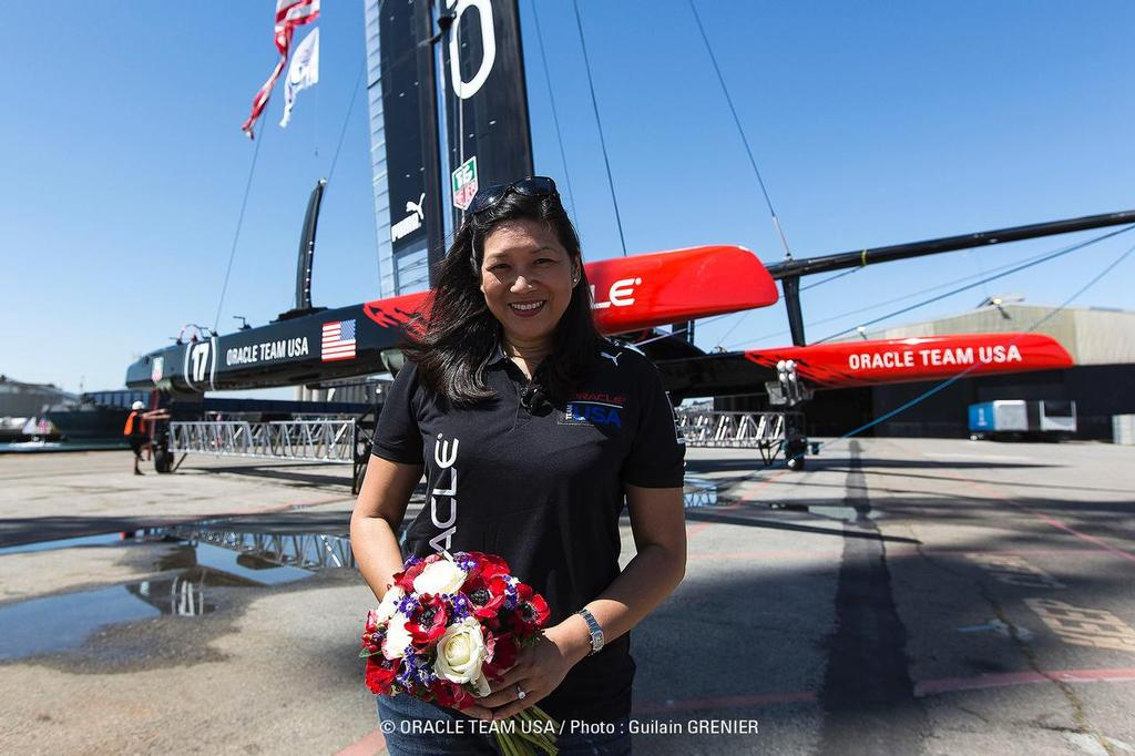 Judy Sim with Oracle Team USA, AC72 - launch April 23, 2013 © Guilain Grenier Oracle Team USA http://www.oracleteamusamedia.com/