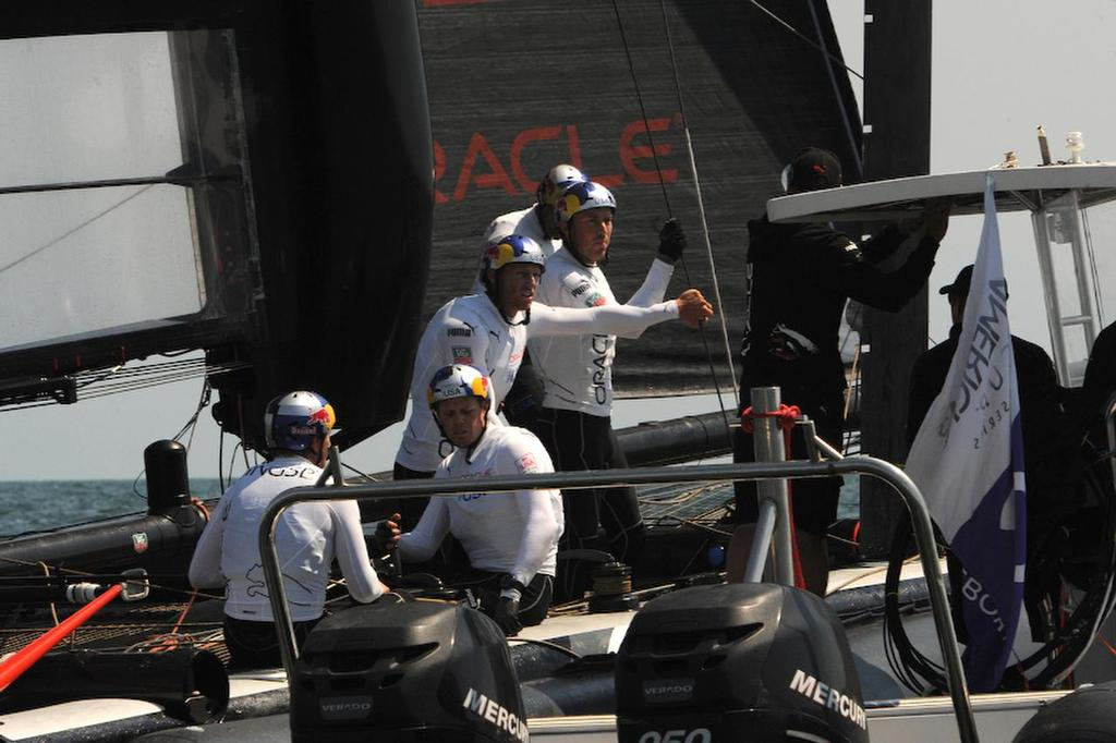 Oracle Team USA gets a last minute briefing before racing starts on April 19, 2013 and ends up first in the overall standings at the ACWS in Naples Italy. ©  SW