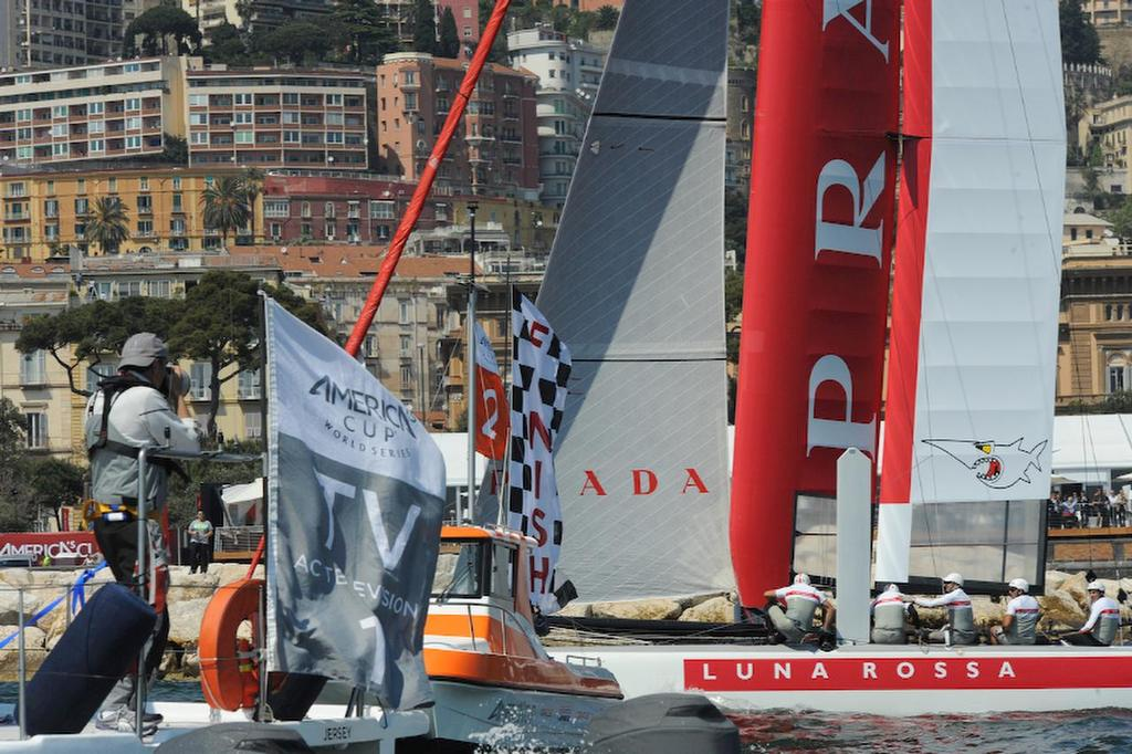 Photographers photograph Luna Rossa Sordfish, skippered by Francesco Bruni, because they won the first Match Race of the day here at the ACWS in Naples Italy April 19, 2013. ©  SW