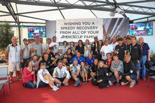 Sailors and shore crews from several America's Cup teams gather in Naples to show their support for David Brooke (NZL) © ACEA - Photo Gilles Martin-Raget http://photo.americascup.com/
