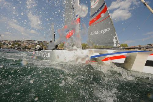 Ben Ainslie sails J.P. Morgan Bar into 3rd place for the day in Naples Italy for the ACWS. ©  SW