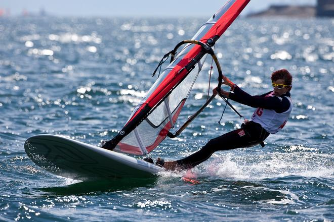Argentina's Bautista Saubidet competing in the RSX windsurfer class at the ISAF Youth World Sailing Championships sponsored by Four Star Pizza on Dublin Bay, Ireland<br />  &copy;  David Branigan / ISAF http://www.sailing.org