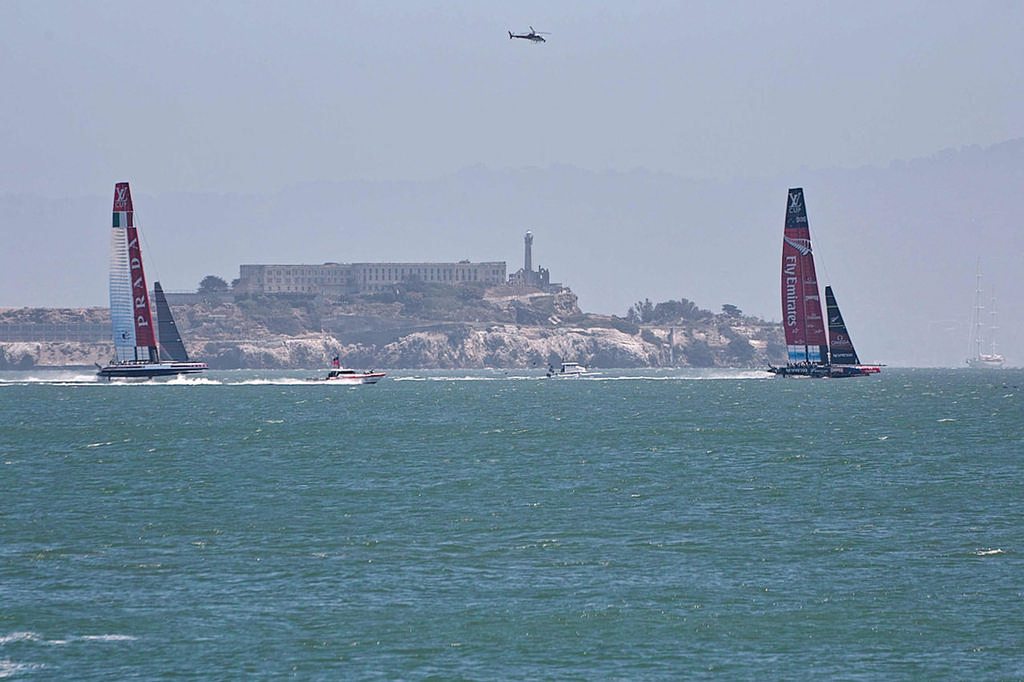 In the haze with Alcatraz in the background, ETNZ leads Luna Rossa by a wide margin right after the start - America's Cup 2013 © Chuck Lantz http://www.ChuckLantz.com