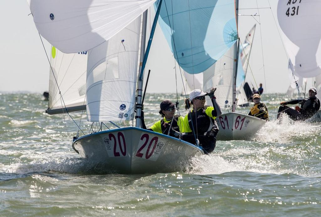 Jo Aleh and Polly Powrie win the Championnat du Monde 2013 de 470 a  La Rochelle © 470 Internationale http://www.470.org