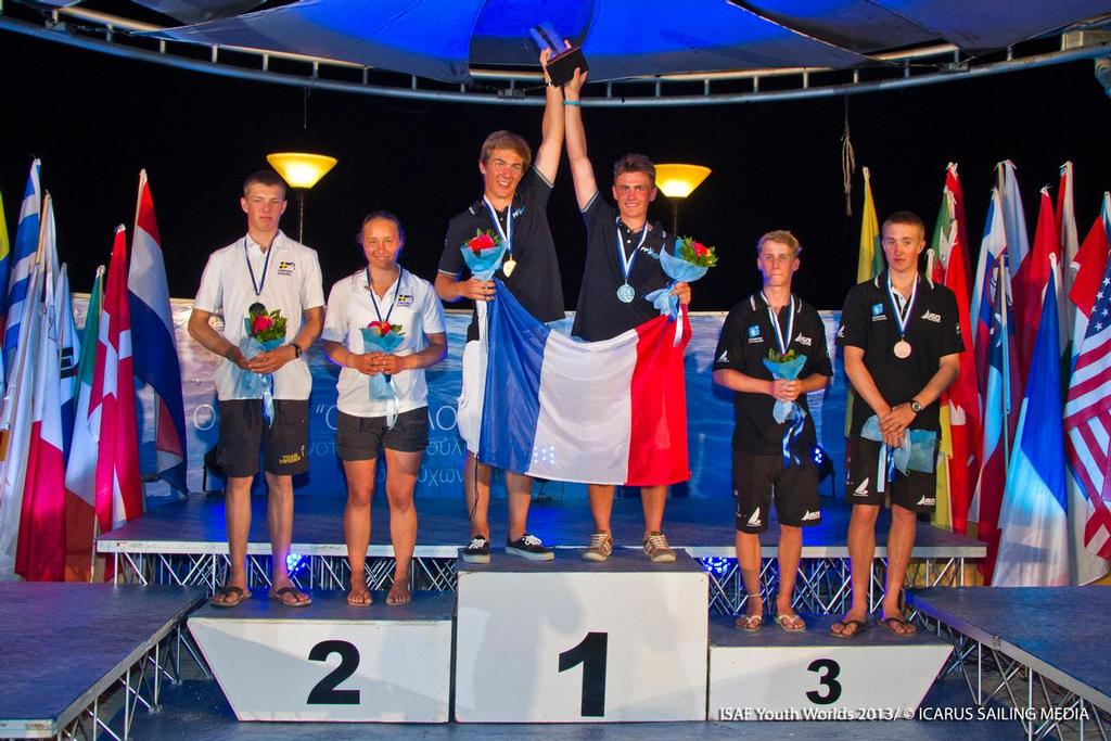 Markus Somerville and Jack Simpson (Wakatere Boating Club) – 29er winners of the Bronze medal in the 29er event © ISAF Youth Worlds http://www.isafyouthworlds.com