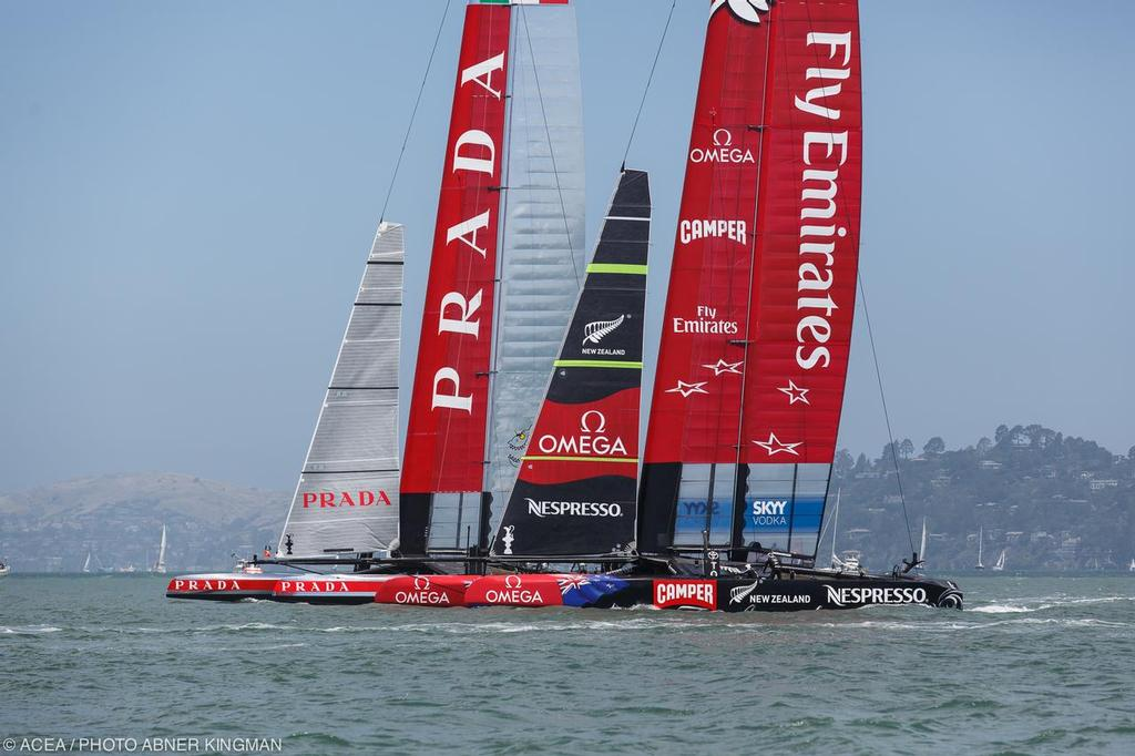 Emirates Team NZ and Luna Rossa before the start - Louis Vuitton Cup, Round Robin, Race Day 4, Luna Rossa vs ETNZ photo copyright ACEA / Photo Abner Kingman http://photo.americascup.com taken at  and featuring the  class