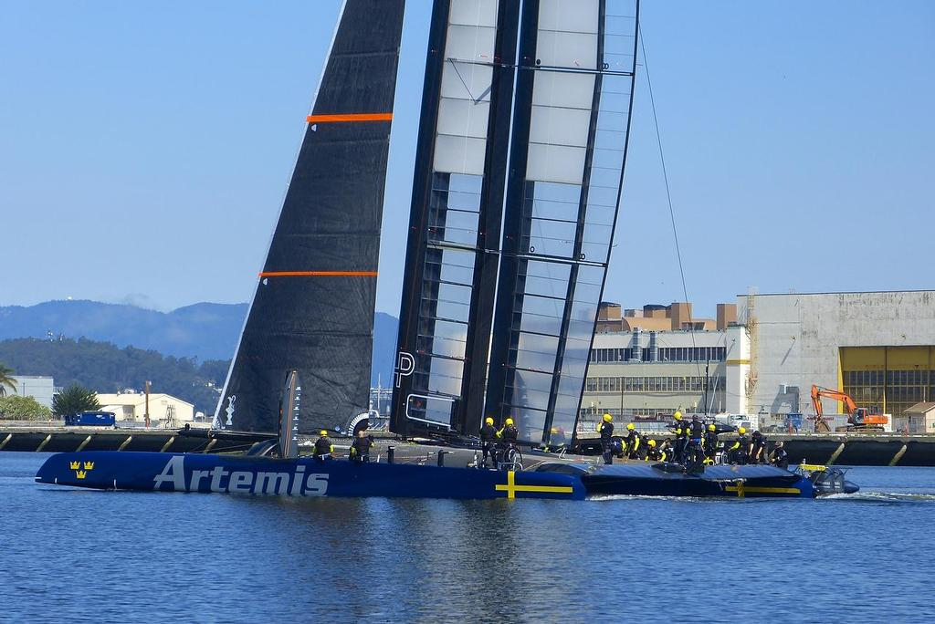 Sailing free - Artemis Racing - Blue Boat - First Sail, July 24, 2013 © John Navas