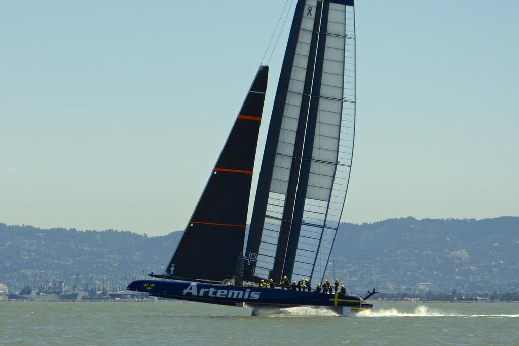 First foiling - Artemis Racing - Blue Boat - First Sail, July 24, 2013 © John Navas