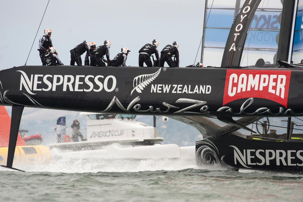 Emirates Team New Zealand sail around the course alone in their round robin 2 match of the Louis Vuitton Cup against Artemis Racing. 14/7/2013 © Chris Cameron/ETNZ http://www.chriscameron.co.nz