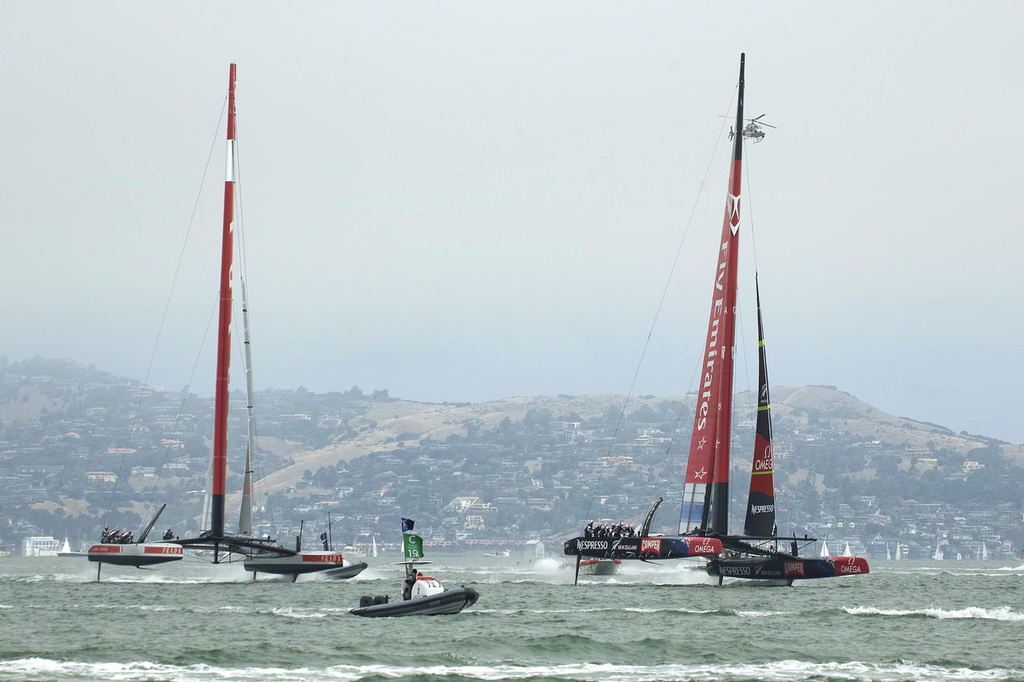ETNZ leads Luna Rossa shortly after the start.  - Americas's Cup © Chuck Lantz http://www.ChuckLantz.com