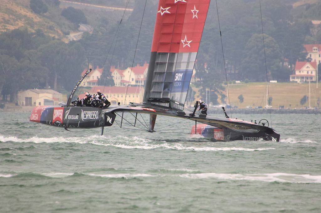 ETNZ leads, with Marin in the background - Americas's Cup © Chuck Lantz http://www.ChuckLantz.com