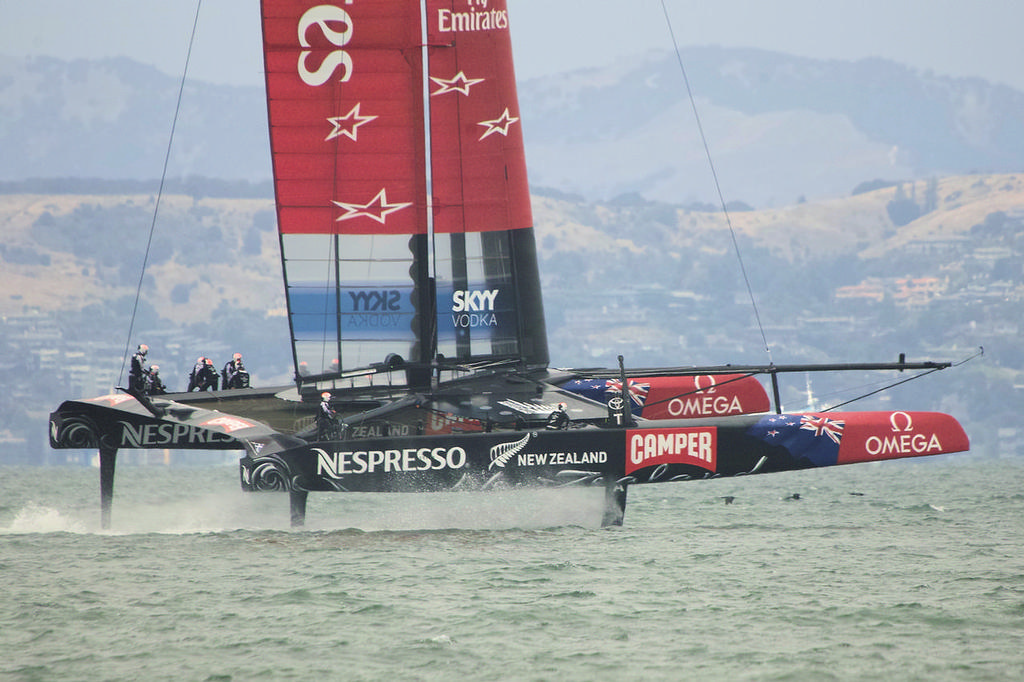 ETNZ on their foils under main alone - Americas's Cup © Chuck Lantz http://www.ChuckLantz.com