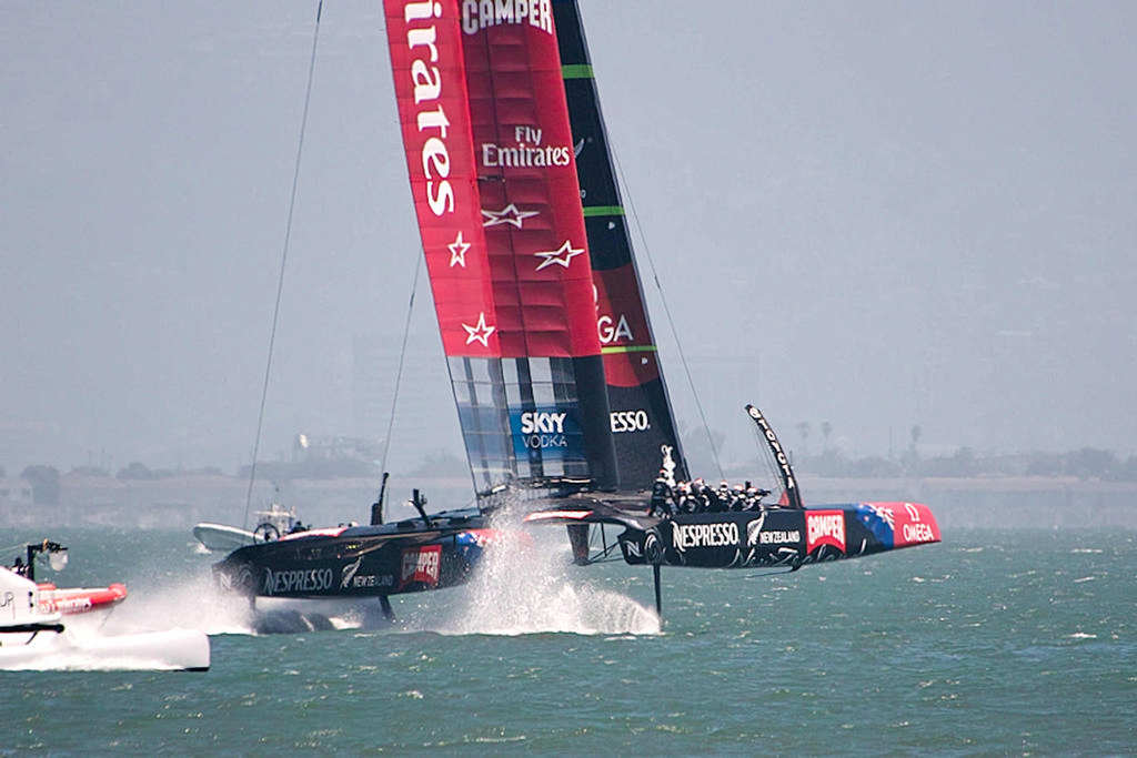 ETNZ up on her foils and flying towards a win over Luna Rossa  - America's Cup 2013 © Chuck Lantz http://www.ChuckLantz.com