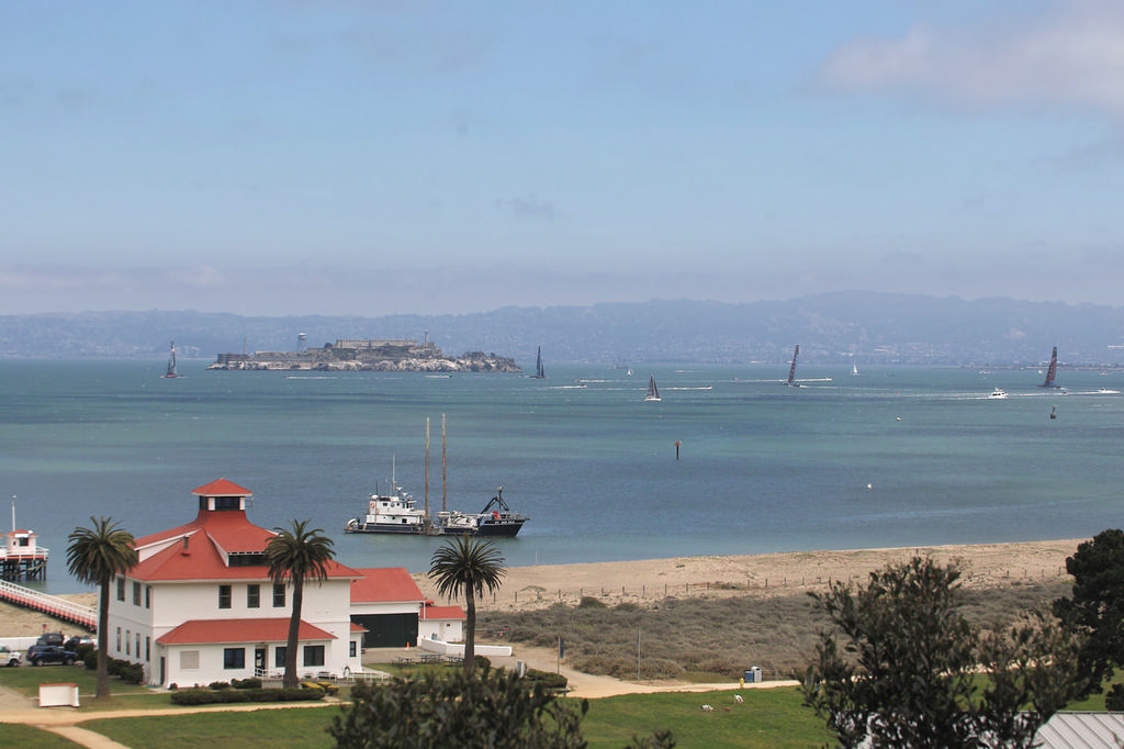 A wide-angle view overlooking the West end of Crissy field, which will be open to the public during racing. - America's Cup © Chuck Lantz http://www.ChuckLantz.com