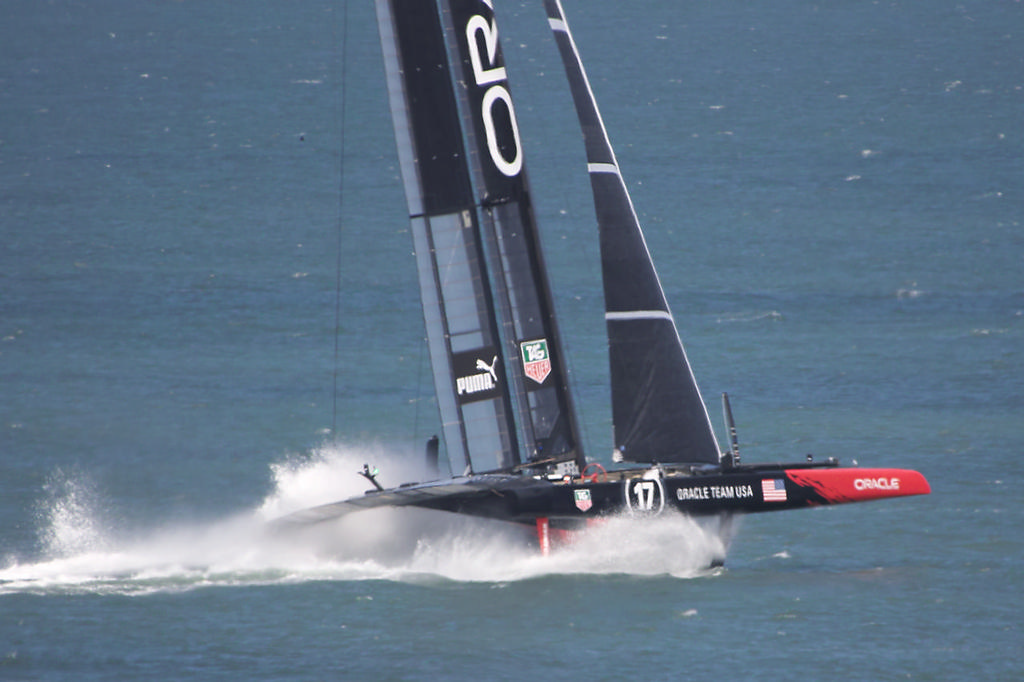 One of Oracle's two AC72s powers downwind - America's Cup © Chuck Lantz http://www.ChuckLantz.com
