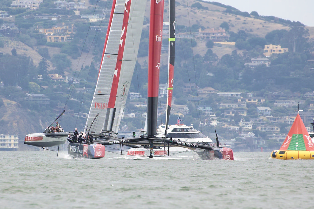 ETNZ at the first mark, already pulling away from Luna Rossa - America's Cup © Chuck Lantz http://www.ChuckLantz.com