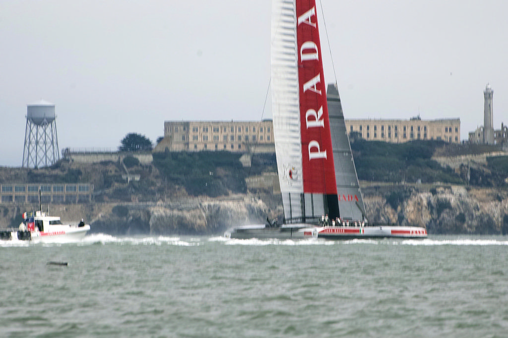 Prada after hitting a large fish, breaking their rudder and slamming down.  - America's Cup © Chuck Lantz http://www.ChuckLantz.com