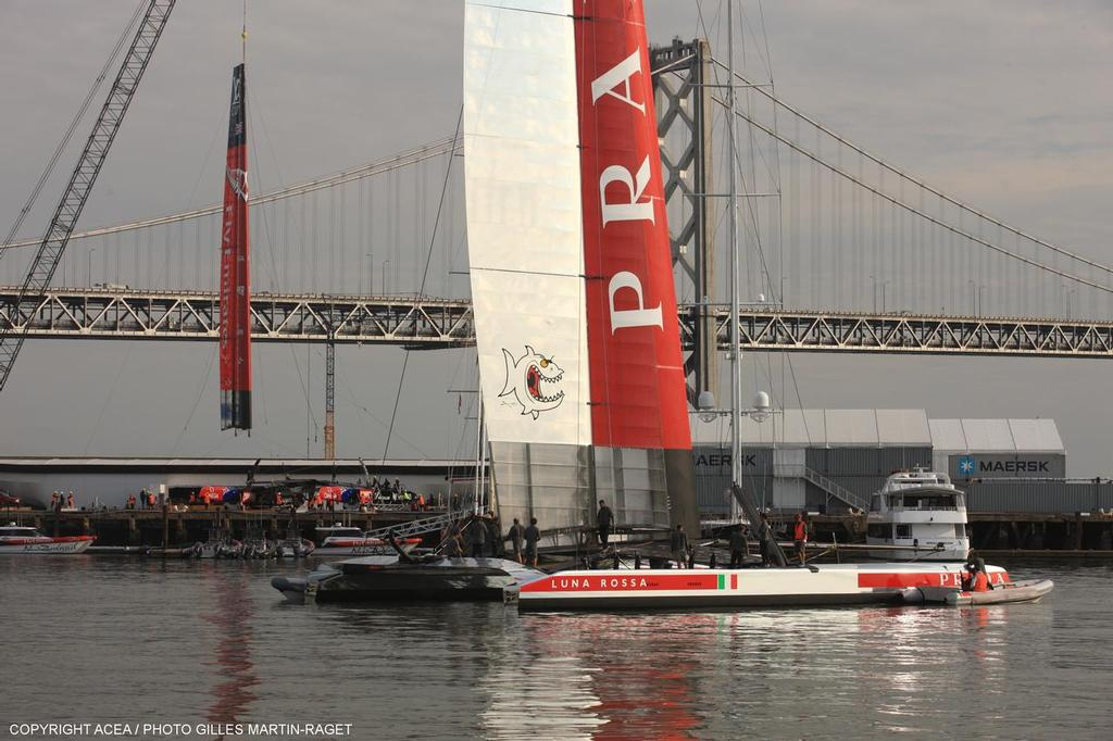 Luna Rossa is believed to have had issues launching and hitting the sea bed with ther rudders -Louis Vuitton Cup - Race Day 10 - Emirates Team New Zealand vs Luna Rossa © ACEA - Photo Gilles Martin-Raget http://photo.americascup.com/