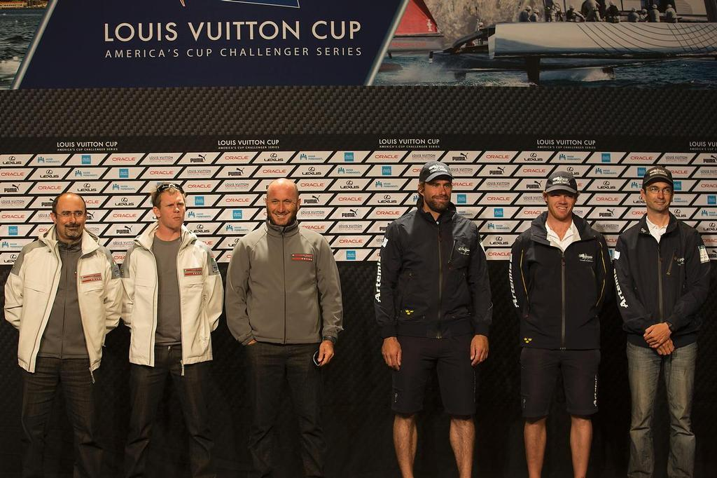 Louis Vuitton Cup - Semi- finals - Media Briefing  - l. to . r : Giorgio Provinciali, Chris Draper, Max Sirena, Ian Percy, Nathan Outteridge, Adam May. © ACEA - Photo Gilles Martin-Raget http://photo.americascup.com/