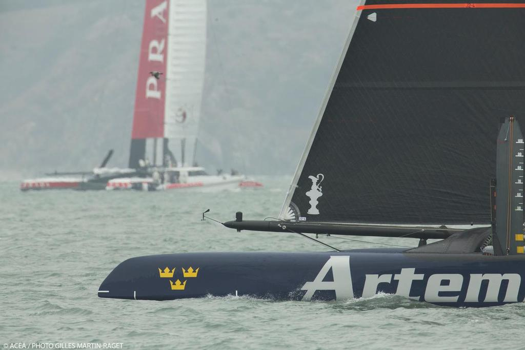 Artemis Racing training with Semi-Finas opponent Luna Rossa in the background - San Francisco, July 31, 2013 © ACEA - Photo Gilles Martin-Raget http://photo.americascup.com/
