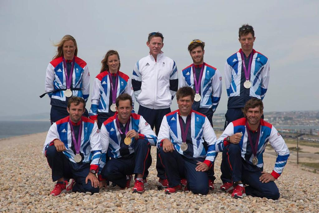RYA Olympic Manager Stephen Park with the 2012 Olympic sailing medallists (back l to r) Saskia Clark, Hannah Mills, Luke Patience, Stuart Bithell (front l to r) Nick Dempsey, Ben Ainslie, Andrew Simpson and Iain Percy ©  Richard Langdon http://www.oceanimages.co.uk