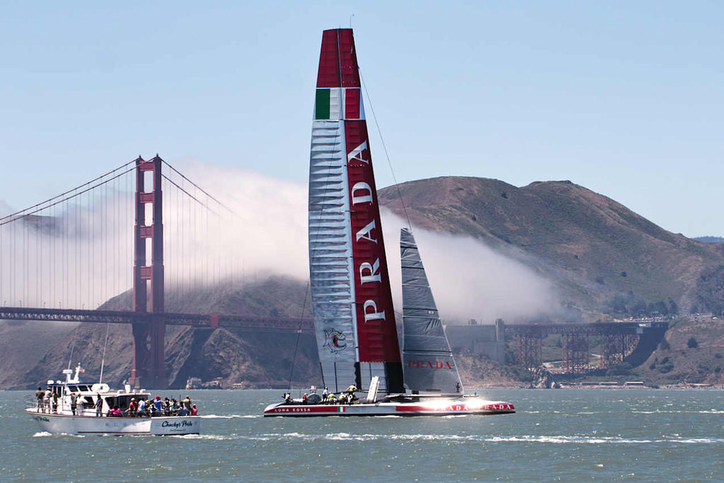 Luna Rossa shining silver livery with the iconic Golden Gate bridge in the background.  - America's Cup © Chuck Lantz http://www.ChuckLantz.com