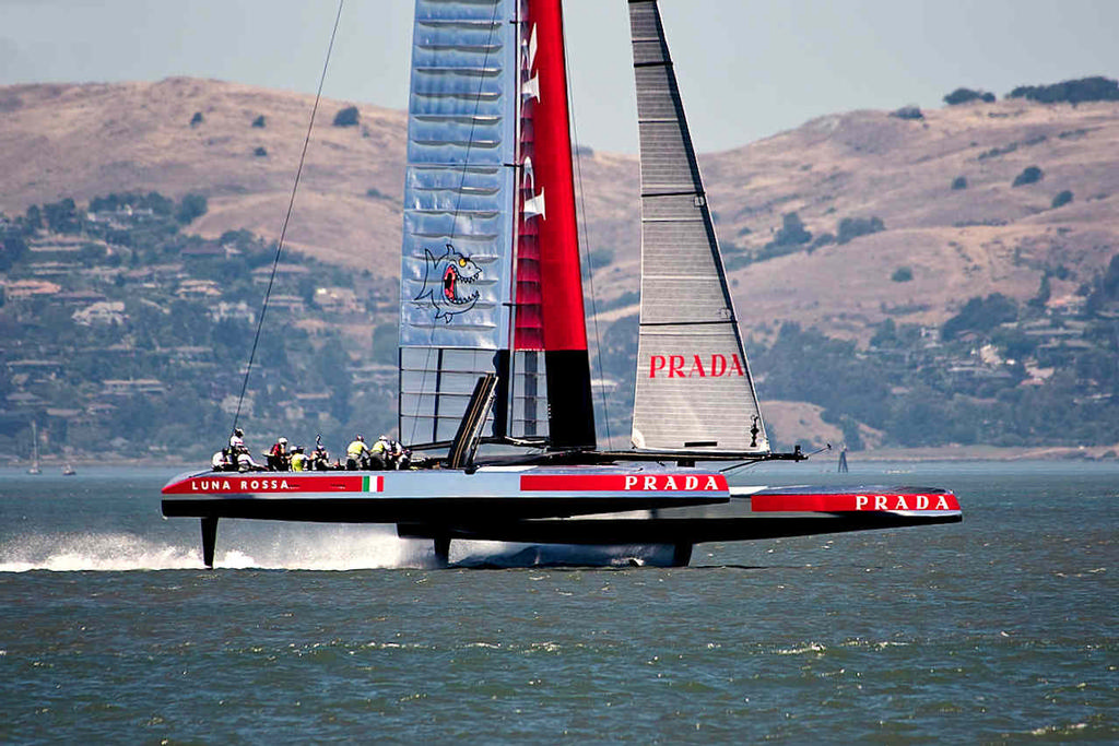Luna Rossa, flat-out and flying towards the finish line during a practice session in  June. - America's Cup © Chuck Lantz http://www.ChuckLantz.com