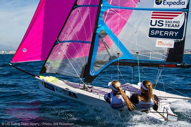 Paris Henken and Helena Scutt, 49erFX, sailing in Palma © Will Ricketson / US Sailing Team http://home.ussailing.org/