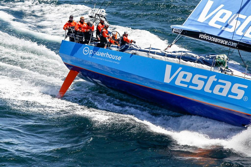 The VO65 heels significantly more than the VO70 to get form stability -  Team Vestas Wind approaches land in fourth place for Leg 1 from Alicante to Cape Town. ©  Ainhoa Sanchez/Volvo Ocean Race