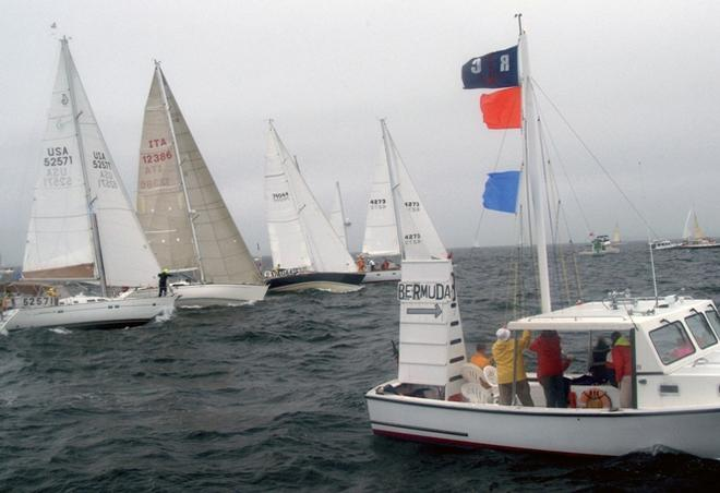 Marion Bermuda racers line up for a windward start. There is only one way to Bermuda... 645 miles SSE out of Buzzard's Bay, across the Gulf Stream and on to the finish off St David's Head.  - Marion Bermuda Race 2015 © Talbot Wilson