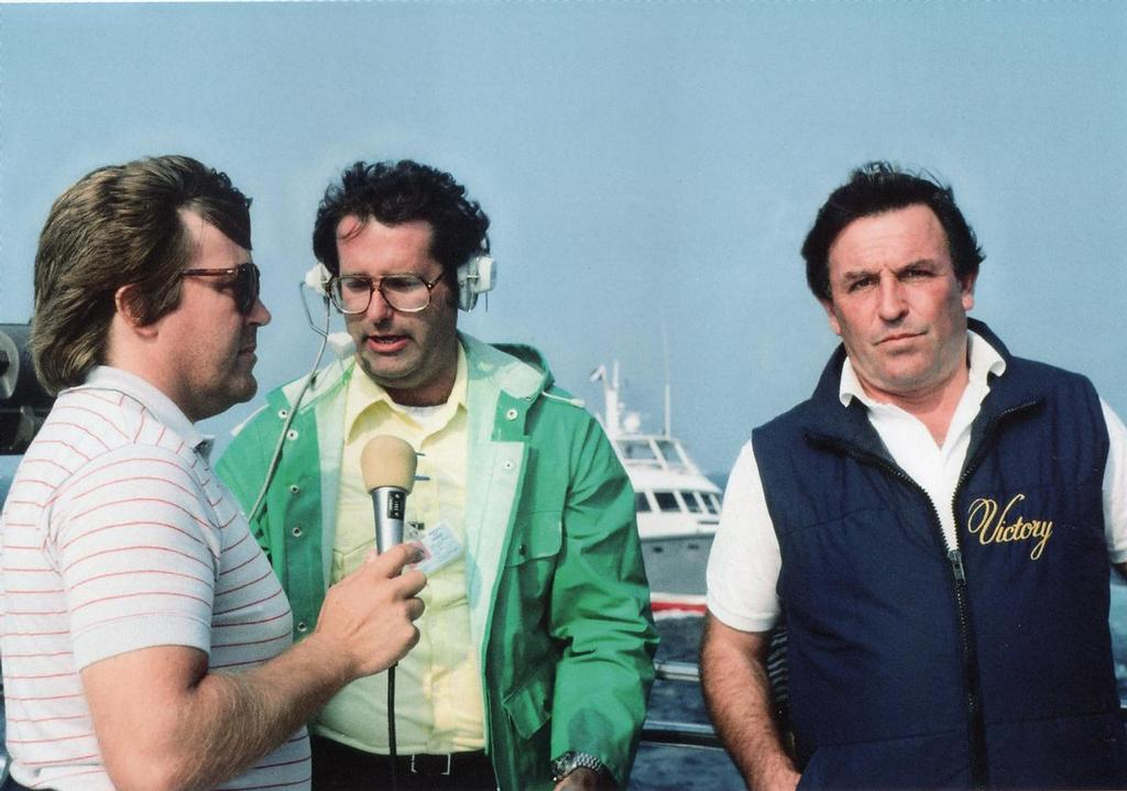 Stan Zemanek, Brian Wallin and Bob Fisher as Australia II sails off to a 3min 14s record win in Race 3 of the 1983 Match - 12 Metres - America's Cup - photo © Paul Darling Photography Maritime Productions www.sail-world.com/nz