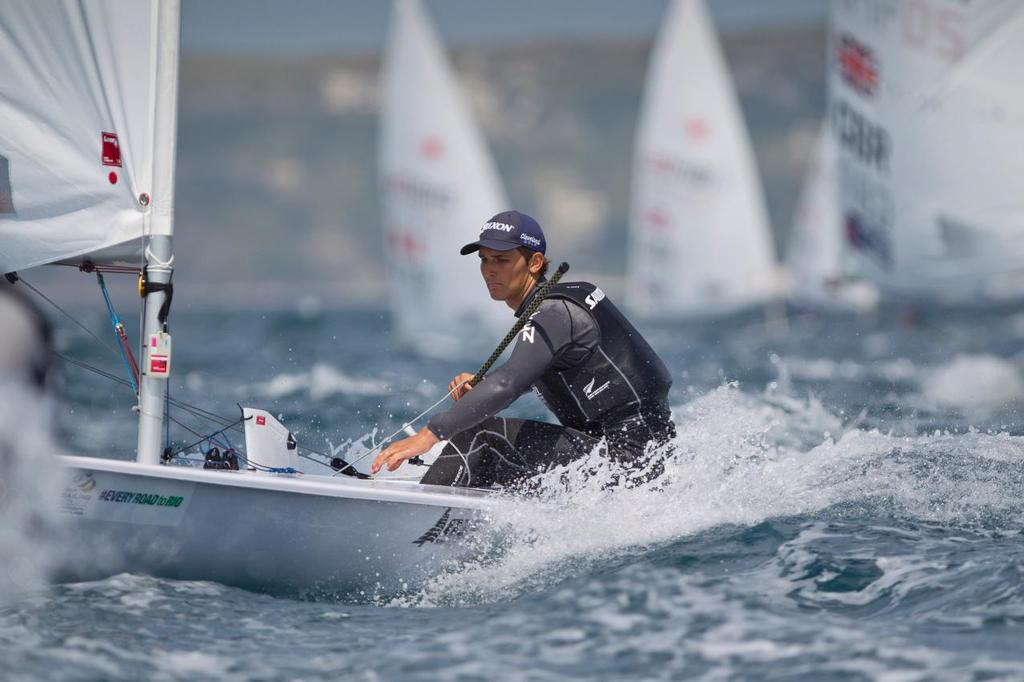 Thomas Saunders, NZL, is one of four New Zealand Laser sailors who placed in the top 13 in the ISAF Sailing World Cup Weymouth & Portland.<br />  &copy; onEdition http://www.onEdition.com