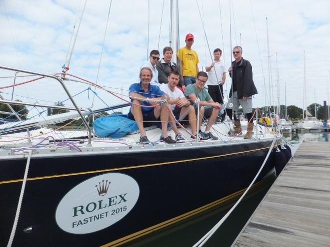 Persephone of London and Fastnet crew. Nigel and Tim Goodhew (bottom and top left) - 2015 Rolex Fastnet Race © Susan Rainger