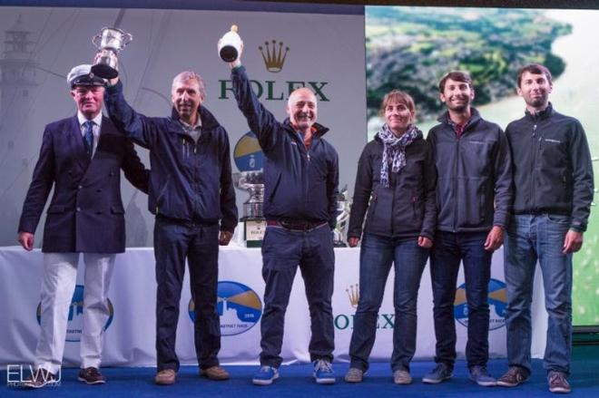 RORC Commodore, Michael Boyd presents the Iolaire Cup to IRC 4 winner, Gerard Quenot's JPK 10.10, Alkaid 111 - Nautistock - 2015 Rolex Fastnet Race ©  ELWJ Photography