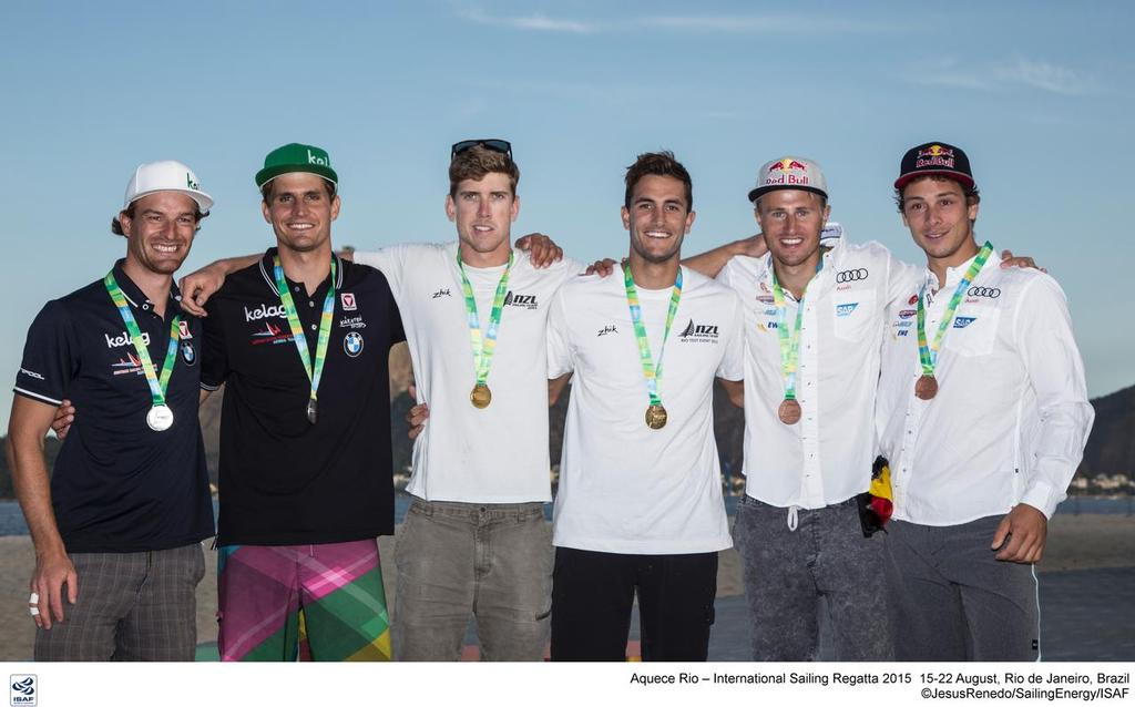 Erik Heil - second from right with the other Medalists in the 49er Skiff event at Aquece Rio – International Sailing Regatta 2015- the second sailing test event in preparation for the Rio 2016 Olympic Sailing Competition. Held out of Marina da Gloria  © Sailing Energy/ISAF