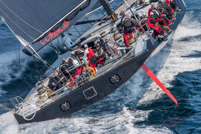 The extreme beam of Comanche gives additional righting moment, but adds wetted surface to make the skimmer type very sticky in light winds ©  Rolex/Daniel Forster http://www.regattanews.com