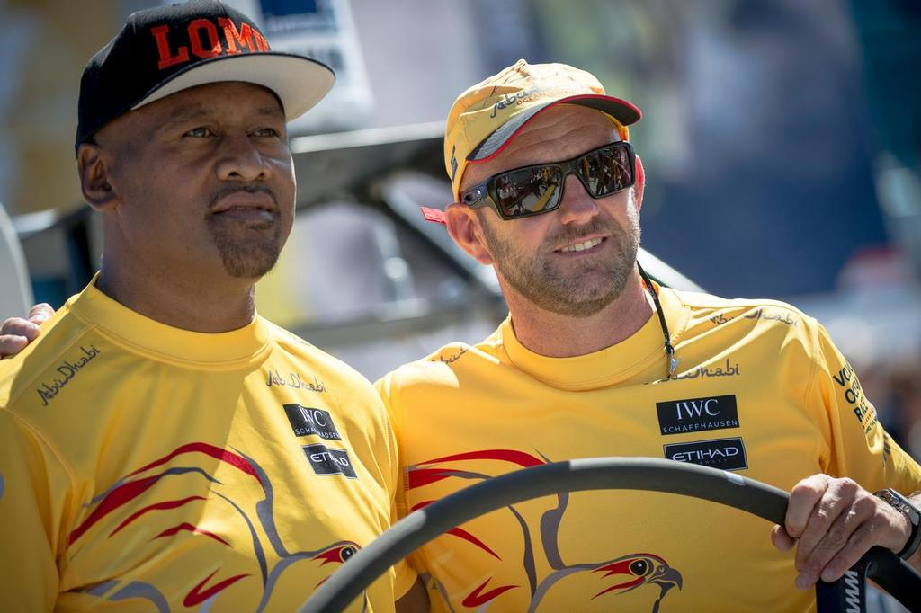 Rugby player Jonah Lomu and Abu Dhabi Ocean Racing Skipper Ian Walker before the New Zealand Herald In-Port Race. © Victor Fraile/Volvo Ocean Race http://www.volcooceanrace.com