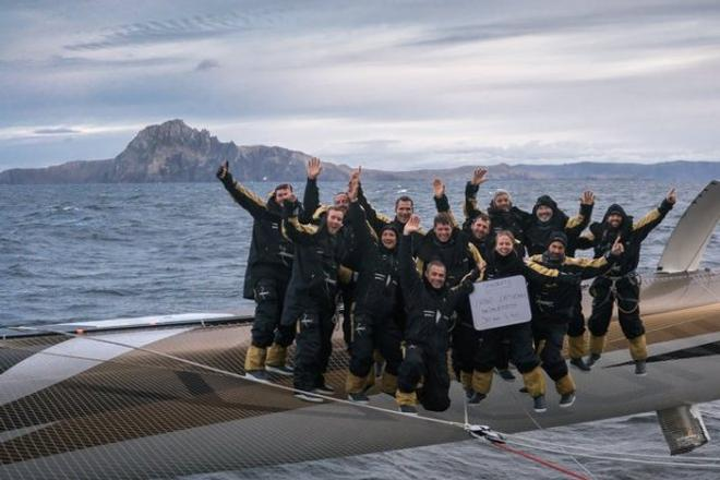 Spindrift 2 crew celebrate passing Cape Horn - 2015 Jules Verne Trophy © Yann Riou / Spindrift racing